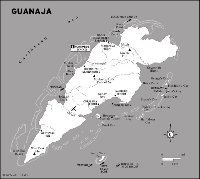 Illustrated map of Guanaja
